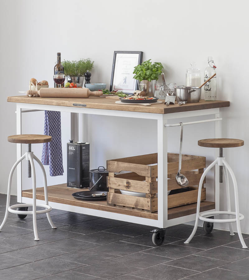 Authentic Kitchen Furniture - Arbeitstisch Rolls in reinweiss mit zwei medium Hocker